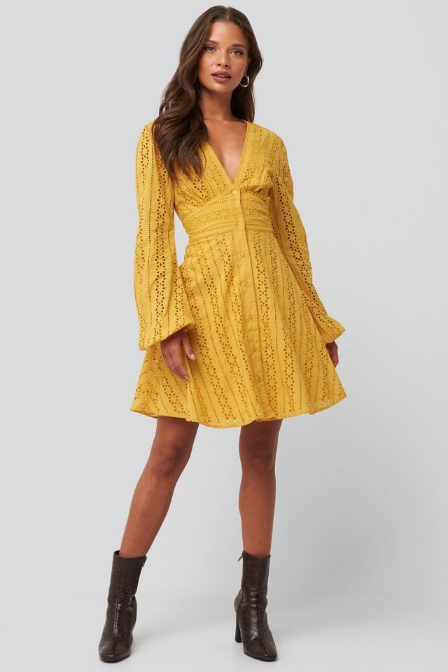 V-Neck Anglaise LS Mini Dress Look