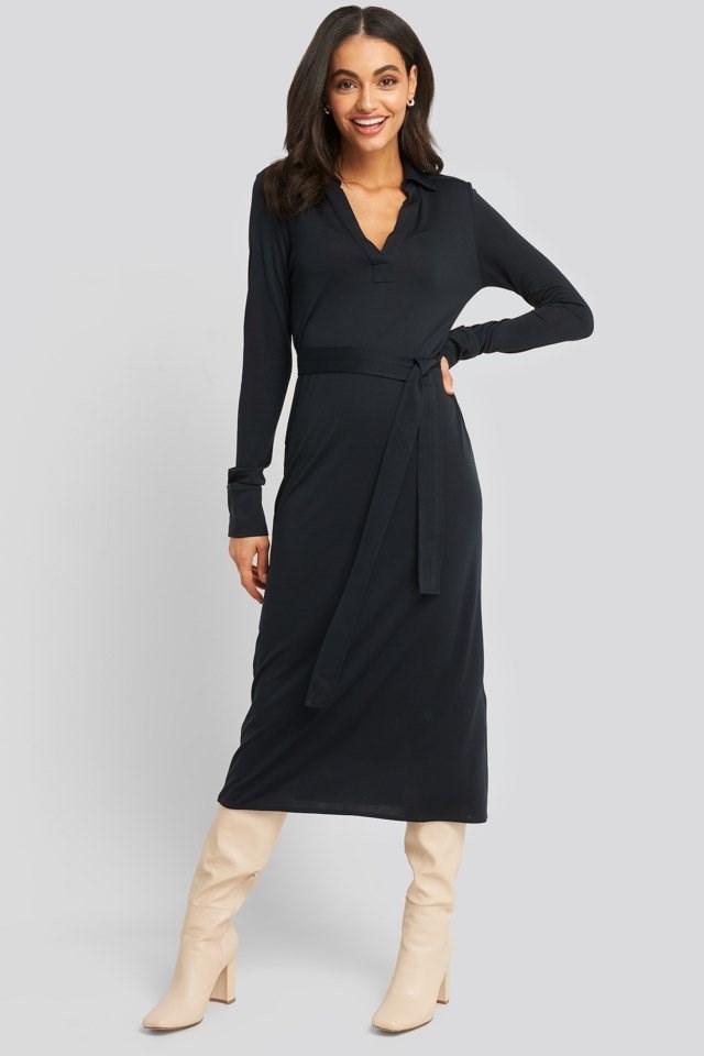 Belted Collar Long Sleeve Midi Dress Look
