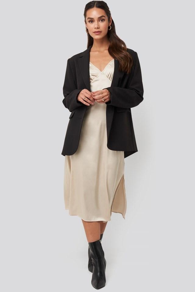 Slip Satin Slit Dress Outfit.