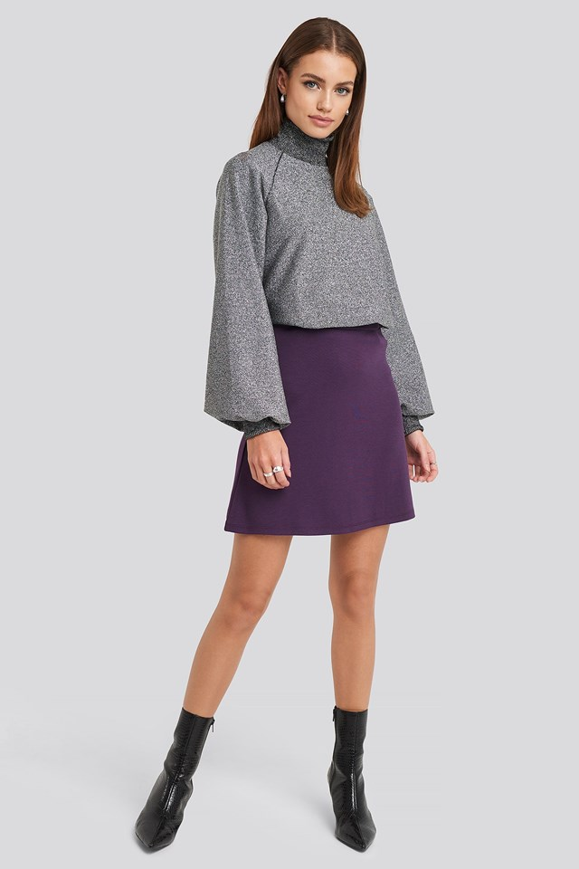 High Waist A-Line Skirt Purple Outfit.