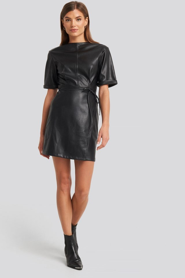 Soft PU Mini Dress Black Outfit