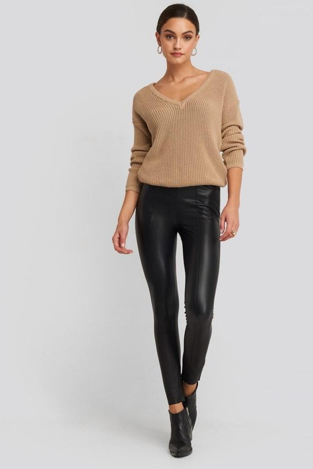 Seam Detail PU Pants Black Outfit.