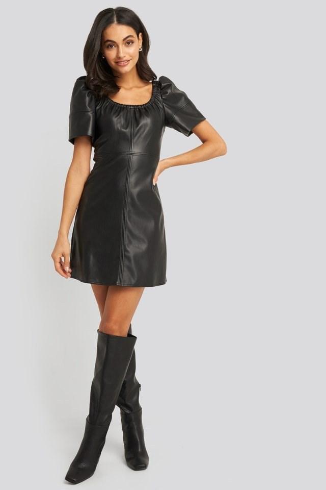 Pu Puff Sleeve Mini Dress Look
