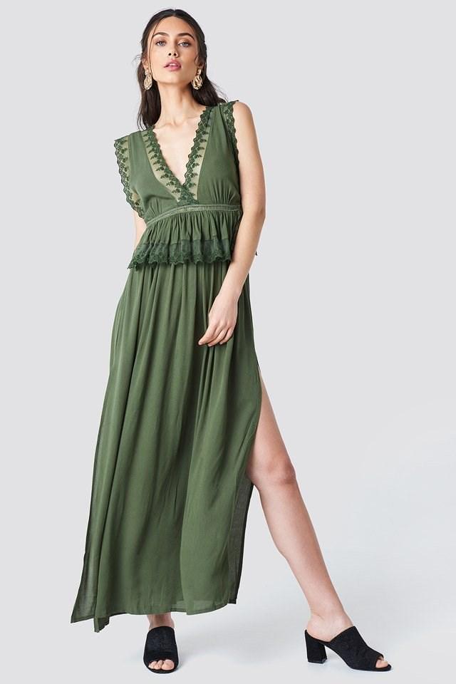Green Slit Maxi Dress