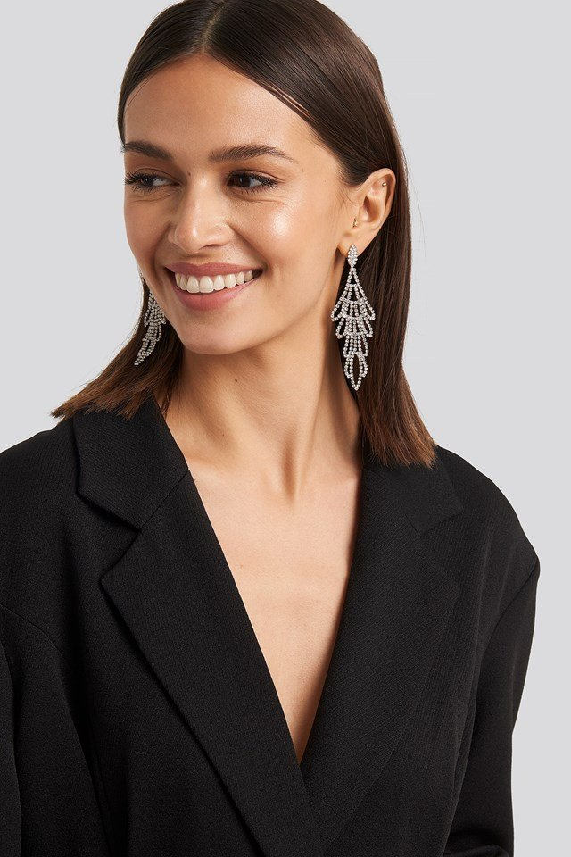 Rhinestone Ornament Drop Earrings Silver outfit.