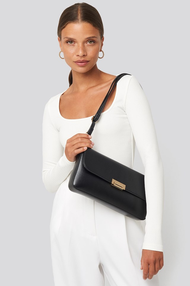Wide Clutch Bag Black Outfit.