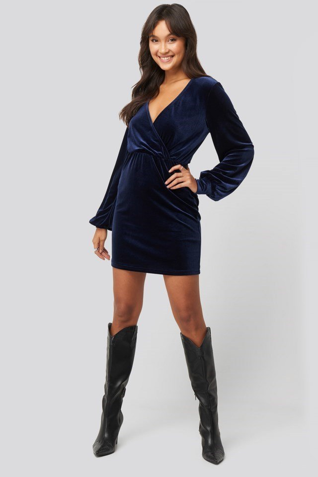 Velvet Overlap Mini Dress Blue Outfit.