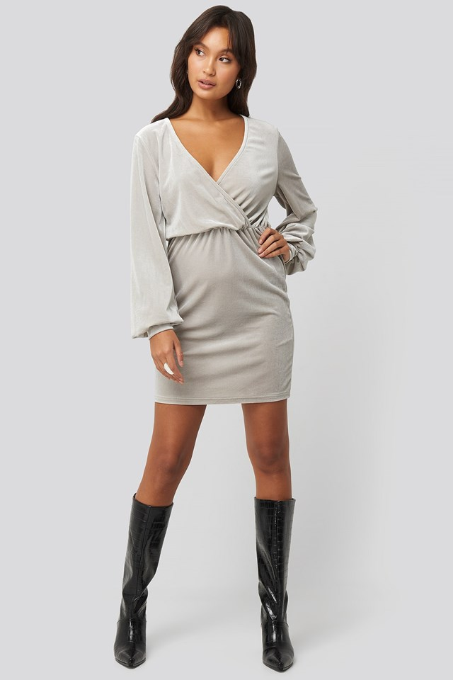 Velvet Overlap Mini Dress Silver Outfit.