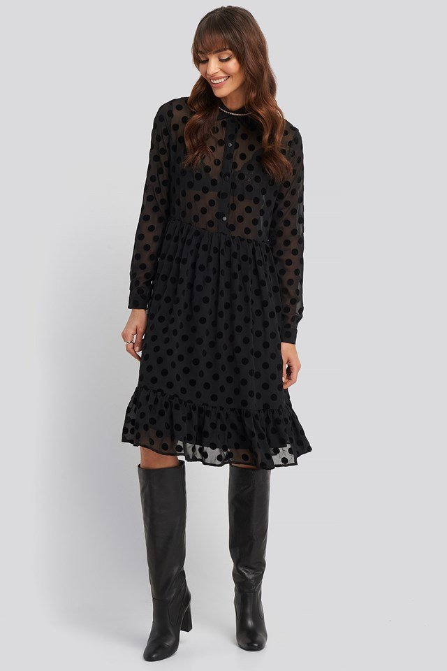 Polka Dot Mesh Dress Black Outfit.