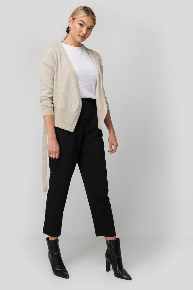 Belted Wrap Cardigan Beige Outfit.