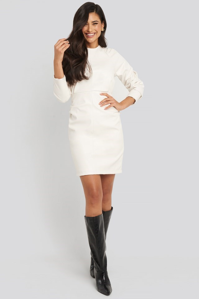 Puff Sleeve Soft Pu Dress Outfit