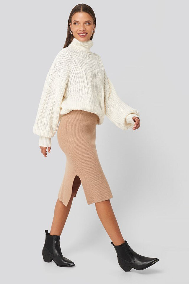 Ribbed Polo Cable Knit Sweater Outfit