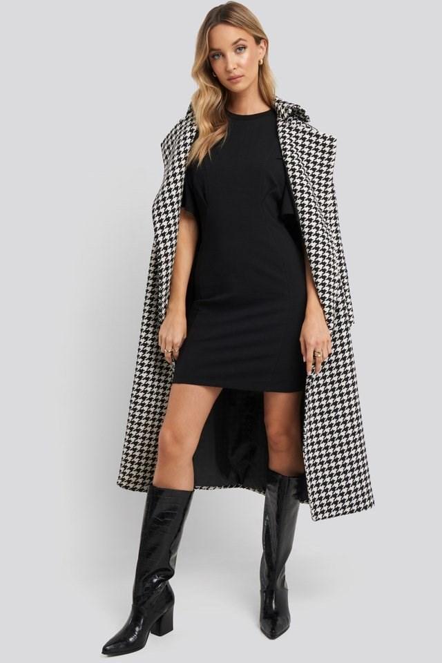 Waist Dart Detail Dress Black Outfit