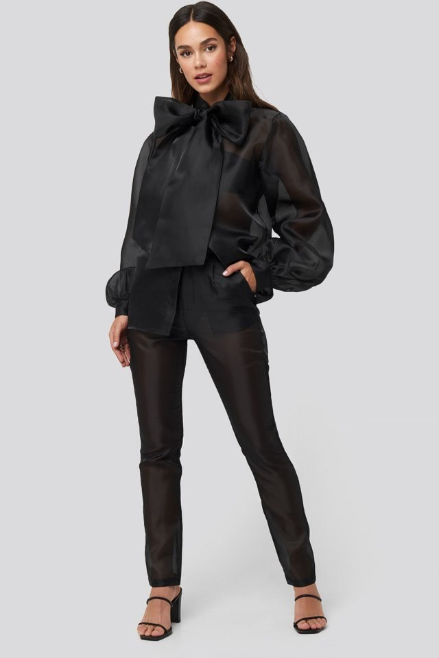 Organza Cigarette Pants Black Outfit