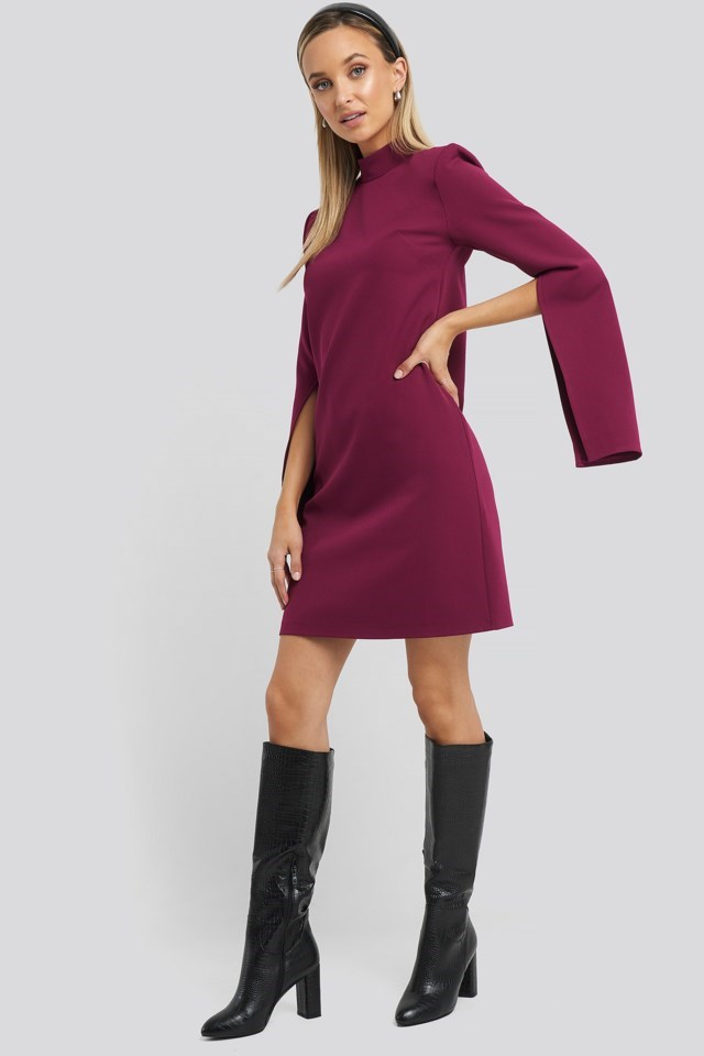 Cape Sleeve Mini Dress Purple Outfit