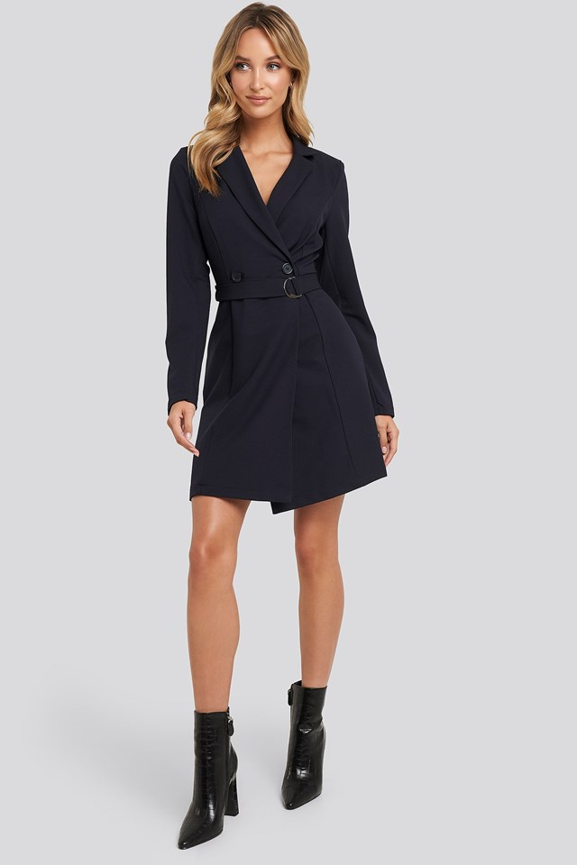 Binding Detailed Blazer Dress Blue Outfit