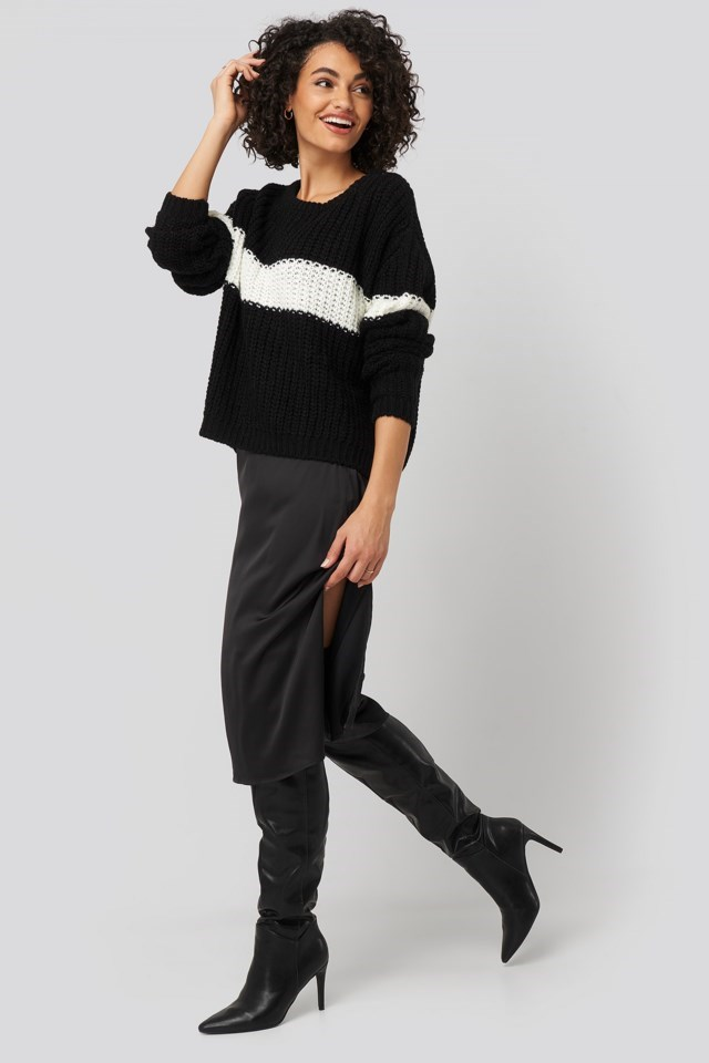 Colorblock Knitted Sweater Black Look