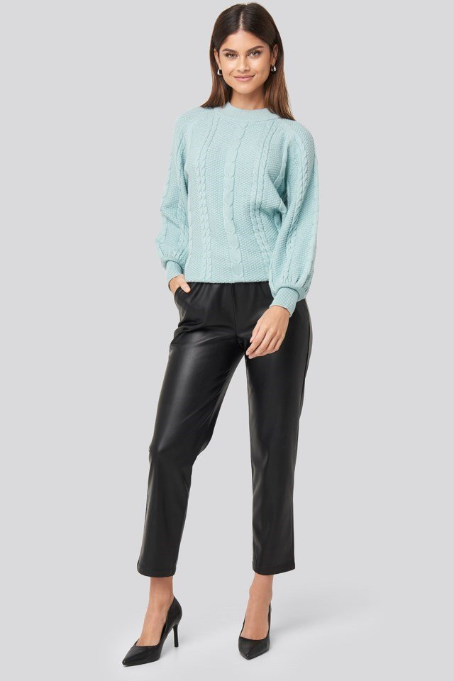 Balloon Sleeve Cable Knitted Sweater Outfit.