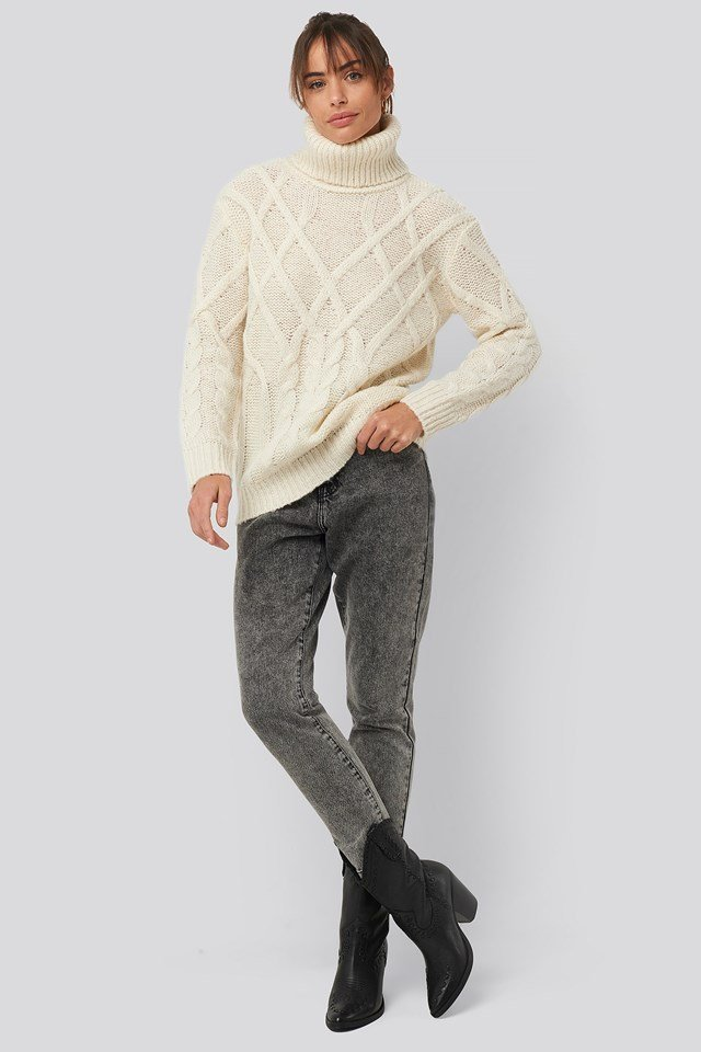 Cable Knitted High Neck Sweater Outfit.