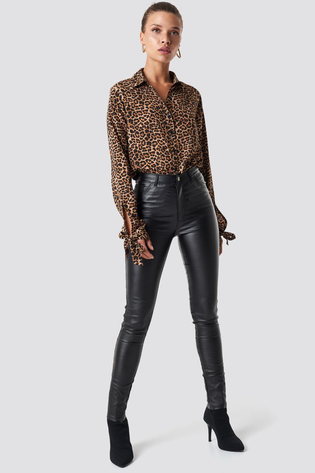 Waxed High Waist Trousers Outfit.