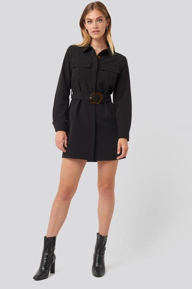 Belted Straight Fit Shirt Dress Black Outfit
