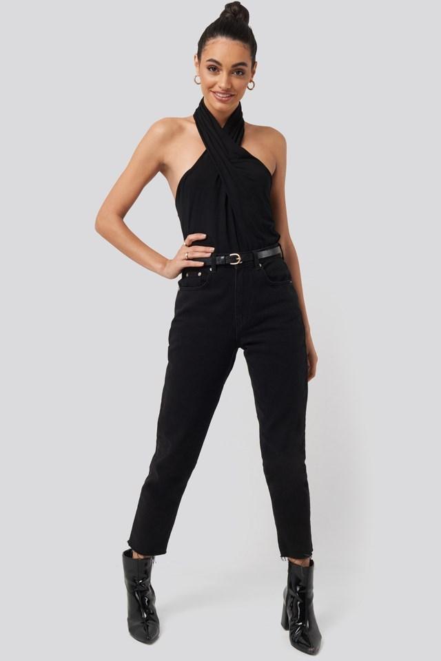 Wrap Halterneck Blouse Outfit