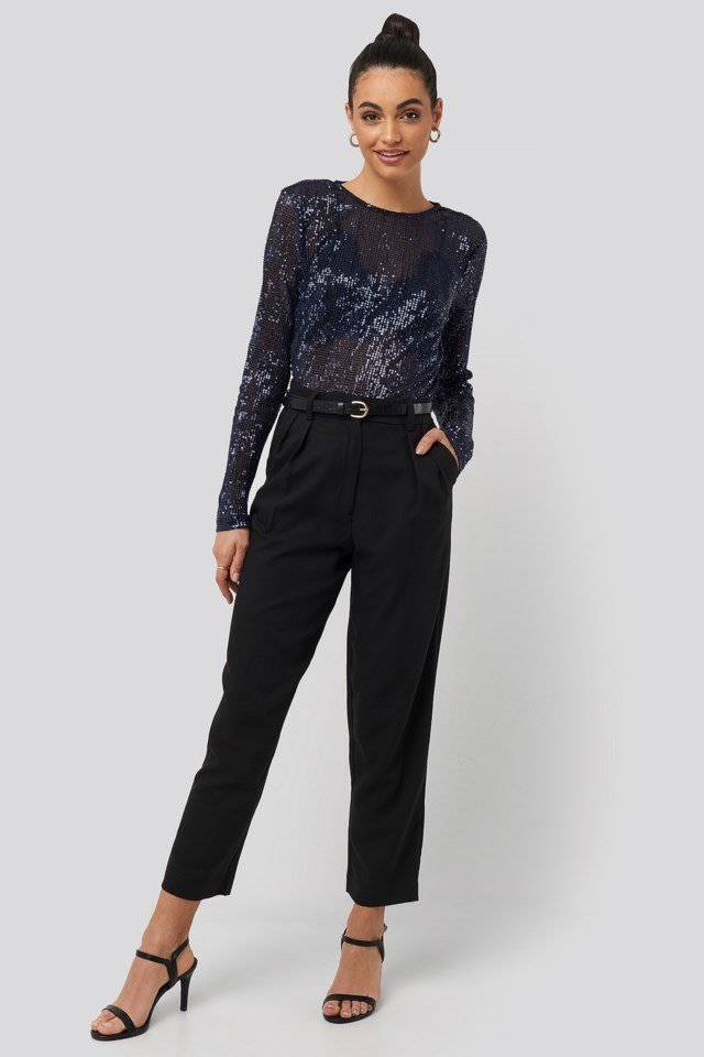 Sequin Round Neck Top Outfit