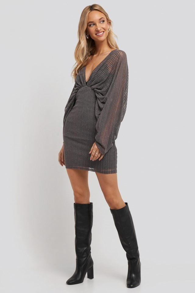 Dolman Glittery Mini Dress Grey Outfit