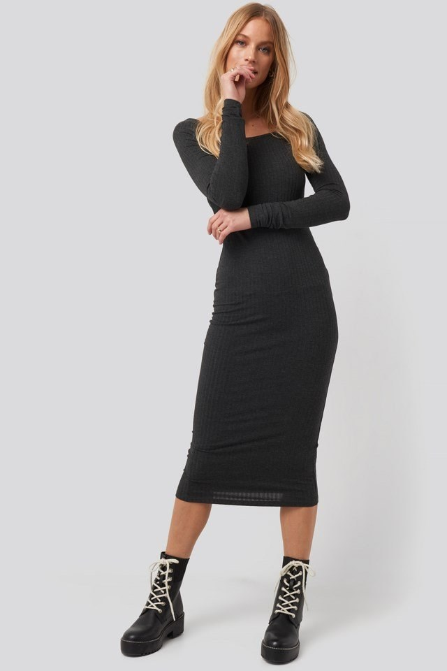 Square Neck Long Sleeve Ribbed Midi Dress Grey Outfit