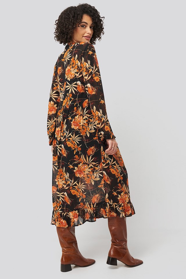 Flowy Frill Flower Printed Dress Multicolor Outfit