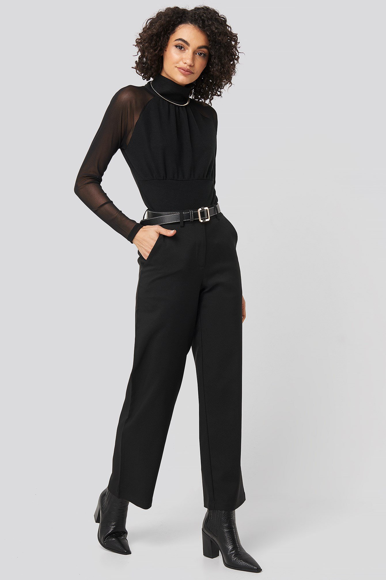 Straight Leg Wide Pants Black Outfit