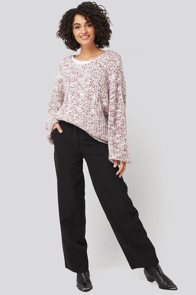 Deep Neck Melange Sweater Purple Outfit