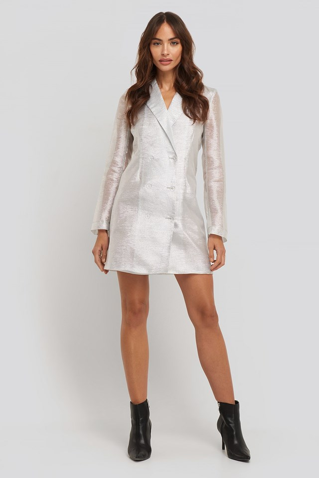 Organza Blazer Dress Silver Outfit