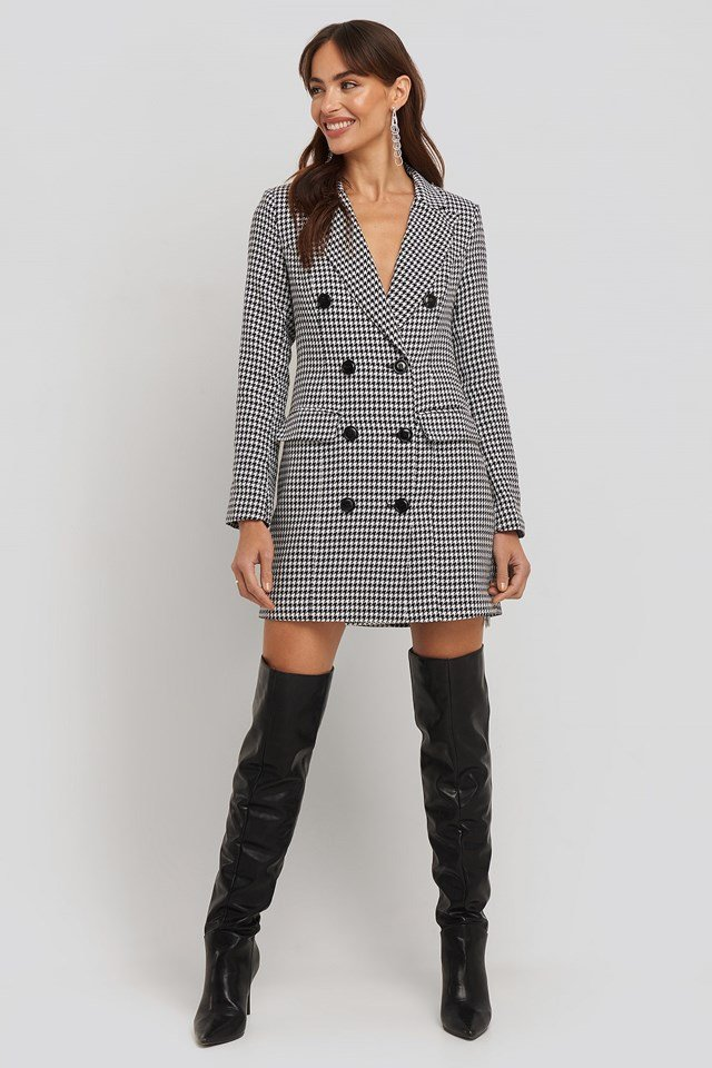 Dogtooth Blazer Dress White Outfit