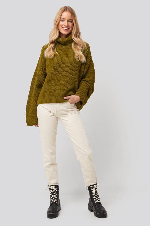 Oversized High Neck Knitted Sweater Green Outift