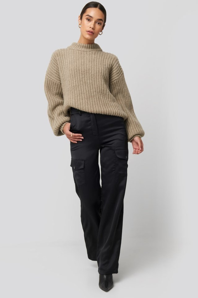 Round Neck Knitted Sweater Beige Outfit