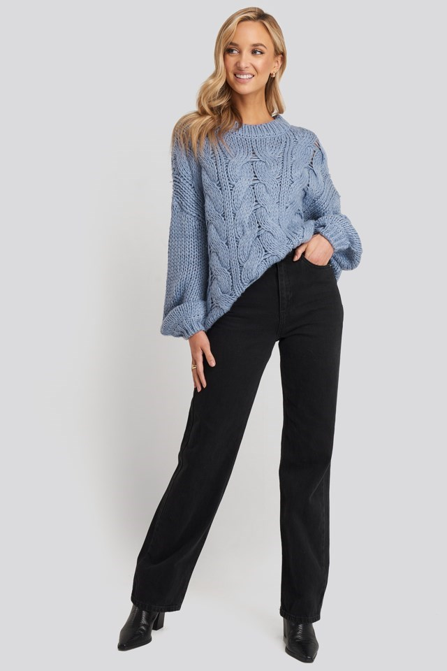 Round Neck Heavy Knitted Cable Sweater Blue Outfit