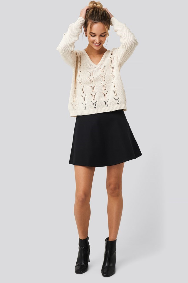 Deep V-Neck Lace Stitch Sweater Outfit
