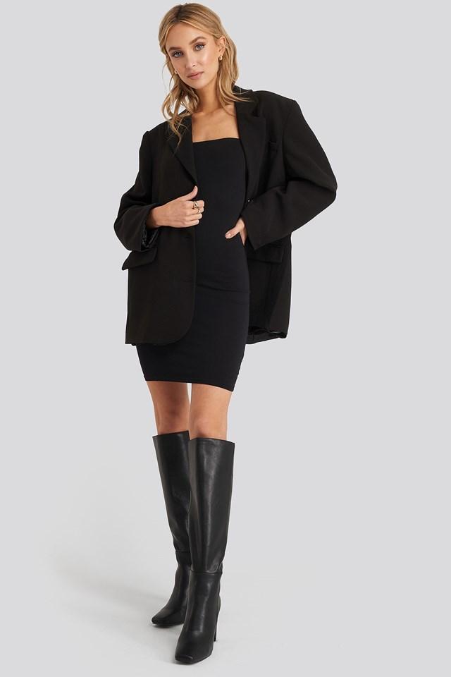 Basic Jersey Bandeau Dress Black