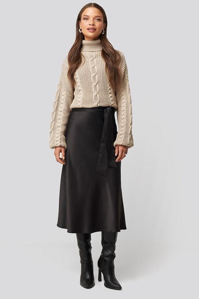 Tie Waist Satin Skirt Look