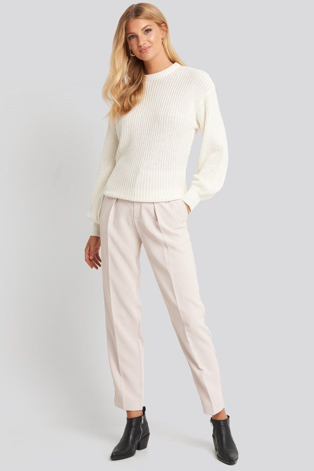 Dropped Shoulder Knitted Sweater Outfit.