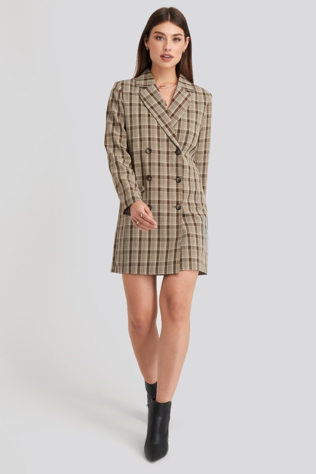 Double Breasted Blazer Dress Brown Outfit
