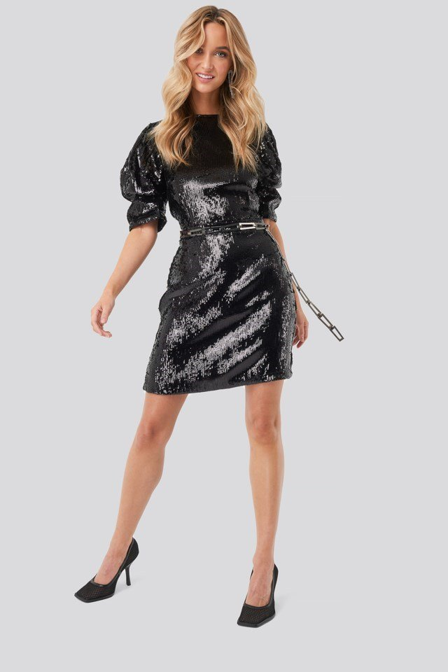 Heavy Sequin Short Puff Sleeve Dress Black Outfit