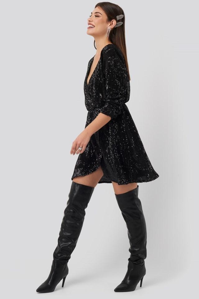 Overlap Sequin Mini Dress Black Outfit