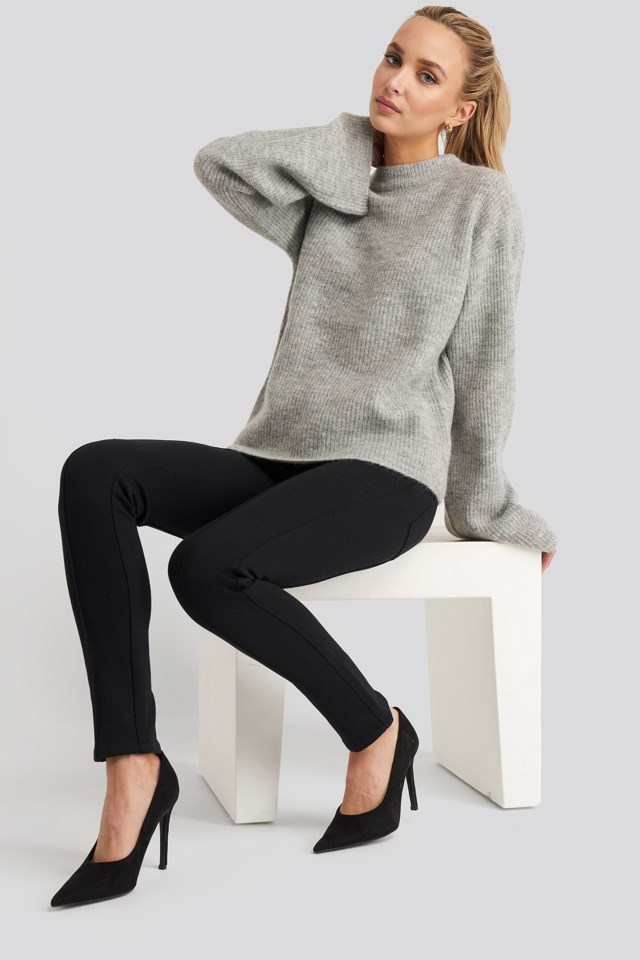 Wool Blend Wide Sleeve Sweater Outfit