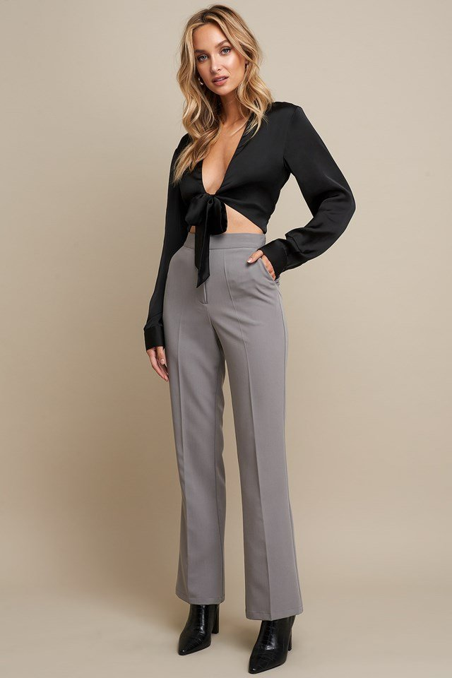 Pleat Front Flare Leg Suit Pants Grey Outfit