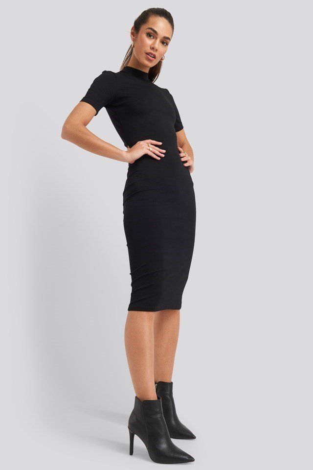 High Neck Bodycon Midi Dress Black Outfit
