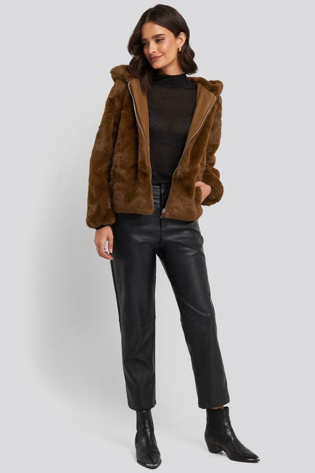 Hooded Faux Fur Jacket Outfit