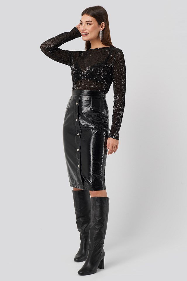 Sequin Round Neck Top Black Outfit