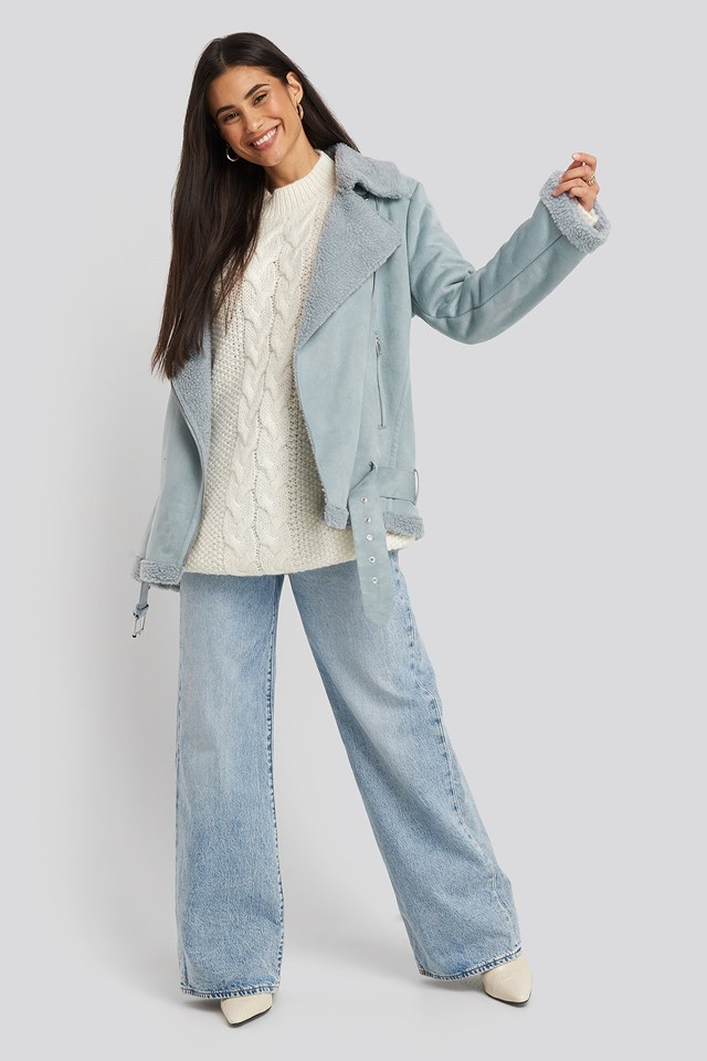 Fake Suede Bonded Aviator Jacket Blue Outfit